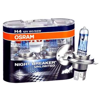Лампа H4 (P43t-38) 60/55W 12V,+110% NIGHT BREAKER UNLIMITED (Eвробокс/2шт)